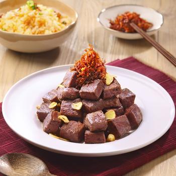 Tumisan Tenderloin daging sapi potong dadu dengan saus XO