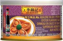 Ormeau en sauce de qualité supérieure aromatisée aux huîtres LKK, 220 g, Boîte de conserve.