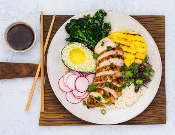 Barbecue Chicken and Pineapple Teriyaki Bowls