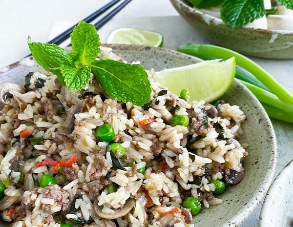 Beef  Mushroom Cantonese Fried Rice Stir Fry