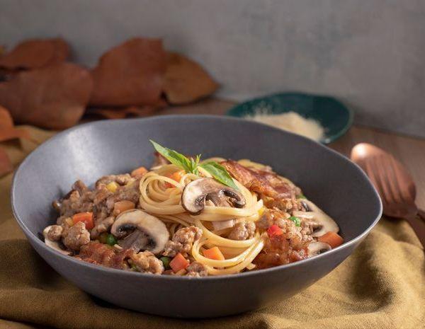 蒜香磨菇肉碎扁意粉