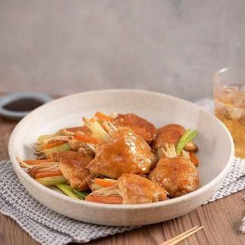 Sayap ayam isi dengan jamur enoki dan saus tiram