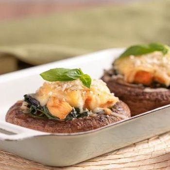 Baked Portobello mushroom with tomato cheese spinach and chicken