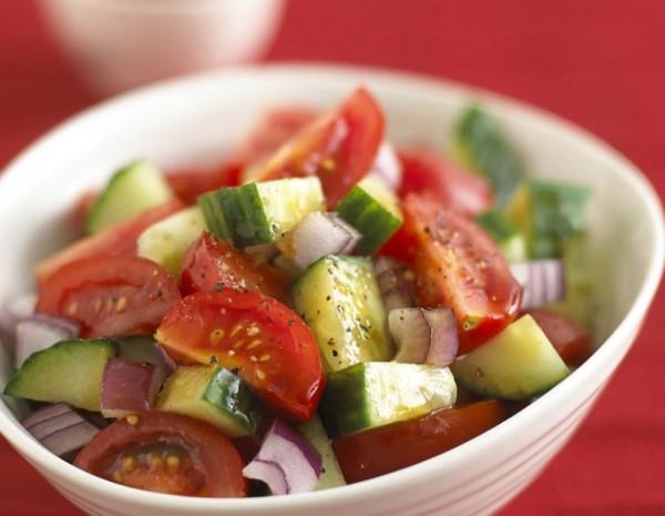Cucumber  Tomato Salad with Spicy Plum Sauce Vegan