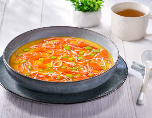 Steamed Egg with Crab Sticks and Vegetables