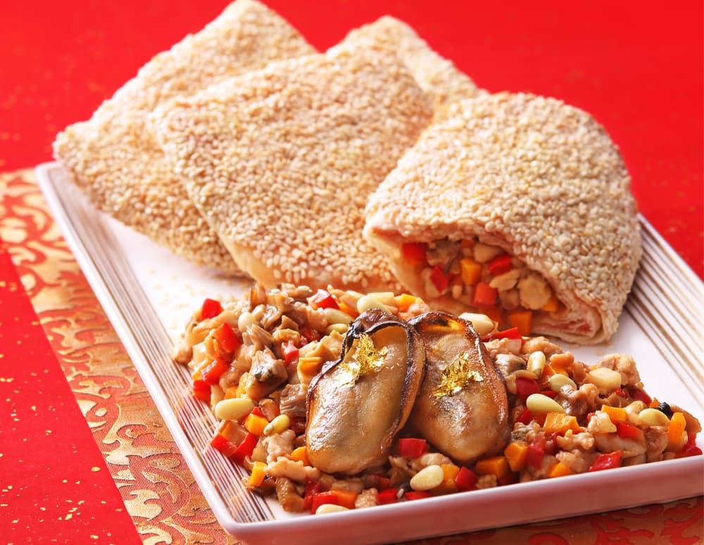 Recipe Sautéed Oyster Dice in Sesame Puff