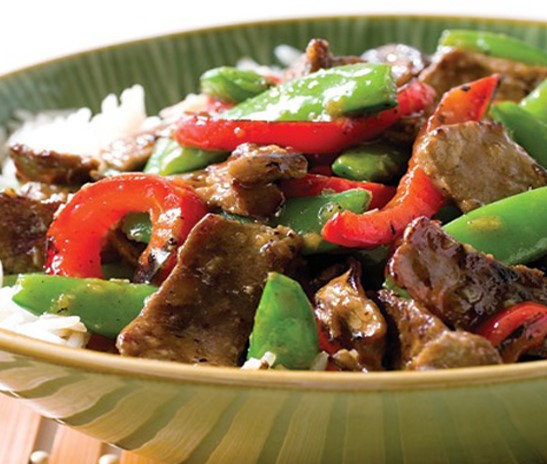 Recipe Tangerine Stir-Fried Beef with Onions and Snow Peas S