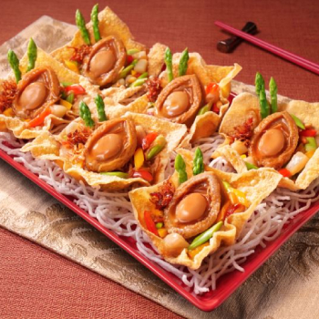 Deluxe Abalone on Fried Wanton Wrappers