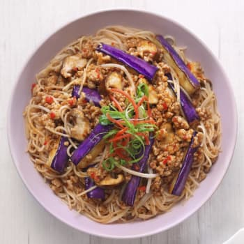 HK_recipe_350_Braised Eggplant with Rice Noodle in Spicy Garlic Sauce
