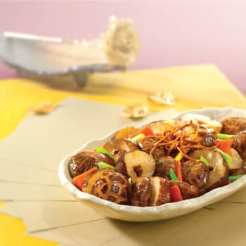 HK_recipe_350_Braised Sea Cucumber with Mushrooms and Cordyceps flowers in Oyster Sauce