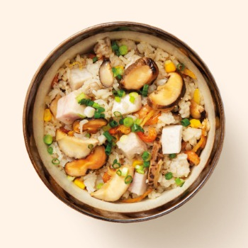 Yam and Mushroom Rice with Sesame Oil