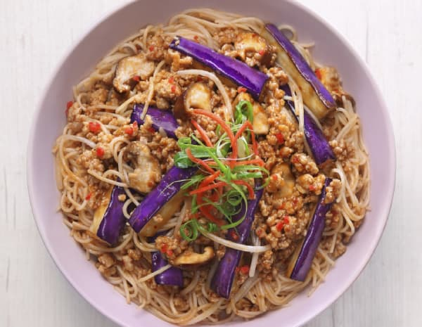 HK_recipe_600_Braised Eggplant with Rice Noodle in Spicy Garlic Sauce