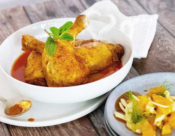 Mothers Day Smokey Teriyaki Sauce Chicken with Orane  Fennal Salad