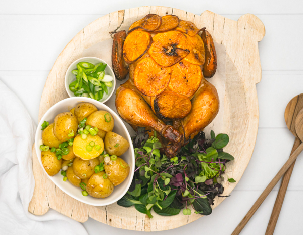 Orange And Soy Roast Chicken With Soy Potatoes