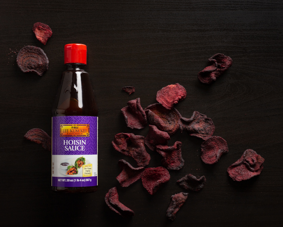 Recipe Baked Beet Chips with Hoisin Sauce