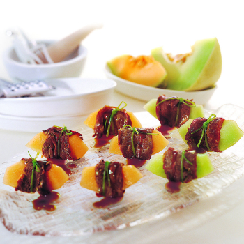 Recipe Beef Rolls with Honeydew Melon