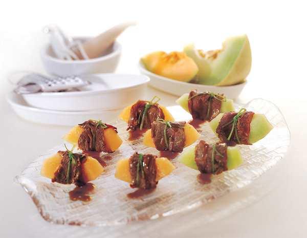 Recipe Beef Rolls with Honeydew Melon
