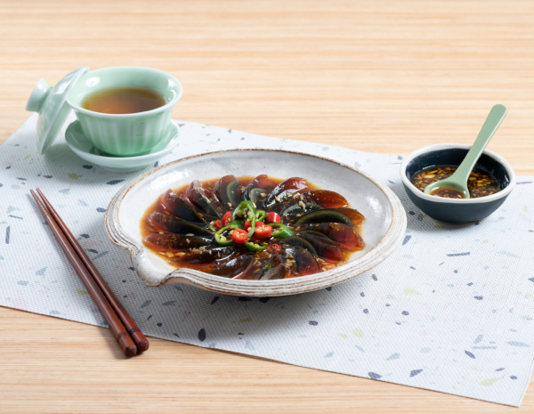 Century Egg with Green Chili Pepper and Vinegar