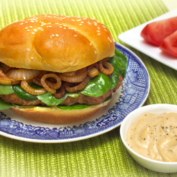 Recipe Blue Cheese Turkey Burger with Lee Kum Kee Premium Oyster Flavored Sauce