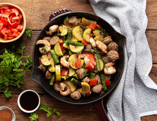 Recipe Cajun Sausage  Shrimp Vegetable Skillet_a