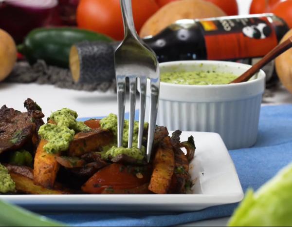 Recipe for Lomo Saltado with Aji Sauce