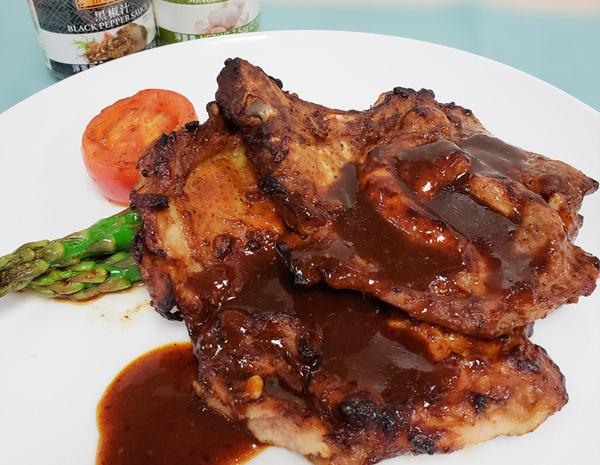 Recipe Grilled Chicken Steak and Pork Chop with Black Pepper Sauce
