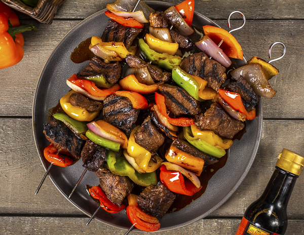 Recipe Grilled Pepper and Steak Kebabs