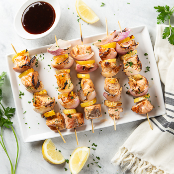 Recipe Grilled Salmon Skewers with Plum Sauce S