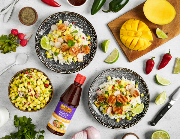 Recipe Grilled Scallops with Coconut Rice and Mango Salsa