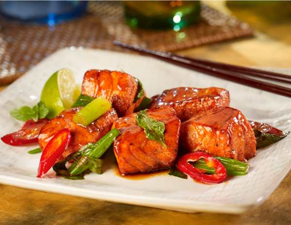 Recipe Lucky Pan-Glazed Salmon with Oyster Flavored Sauce and Basil