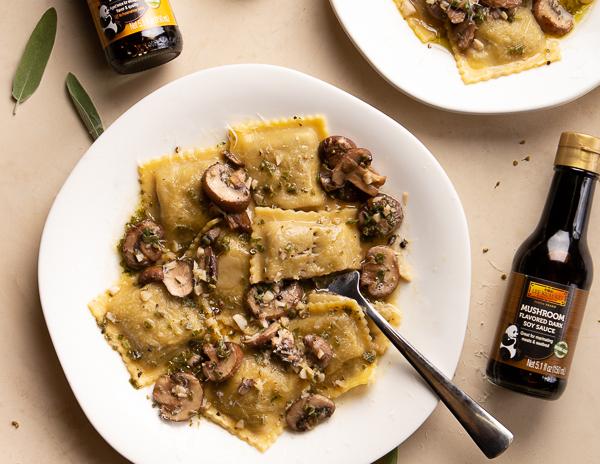 Recipe Mushroom Ravioli with Sage Butter & Wine Sauce