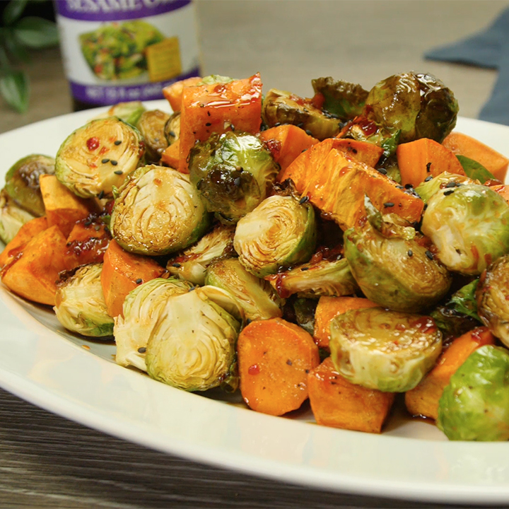 Recipe Roasted Brussels Sprouts and Sweet Potatoes with Sesame-Honey Glaze S