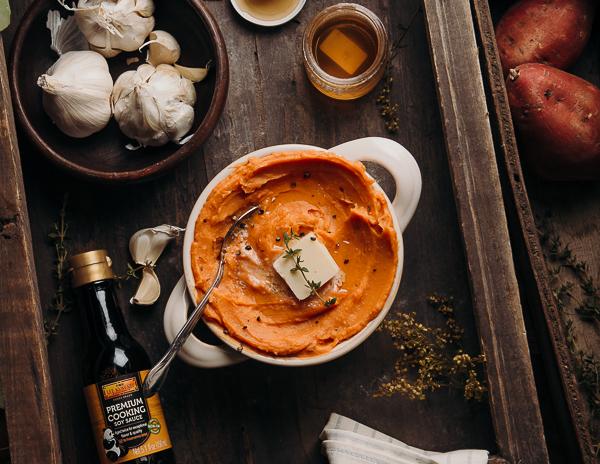 Recipe Roasted Garlic Mashed Sweet Potatoes