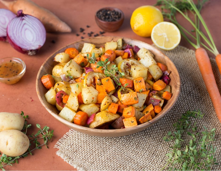Roasted Root Vegetables with Lemon Pepper Sauce