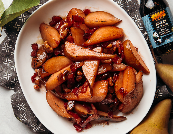 Recipe Sauteed Pears with Bacon & Candied Walnuts
