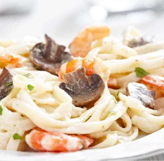 Seafood Fettuccini in Mushroom Cream Sauce