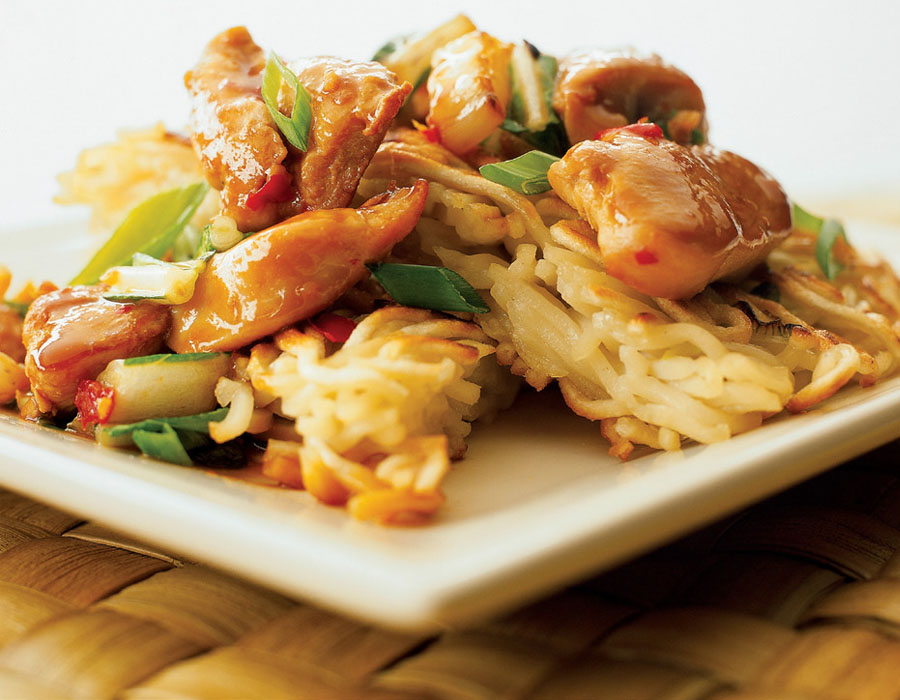 Recipe Spicy Stir-Fried Chicken and Bok Choy with Crispy Noodle Cake