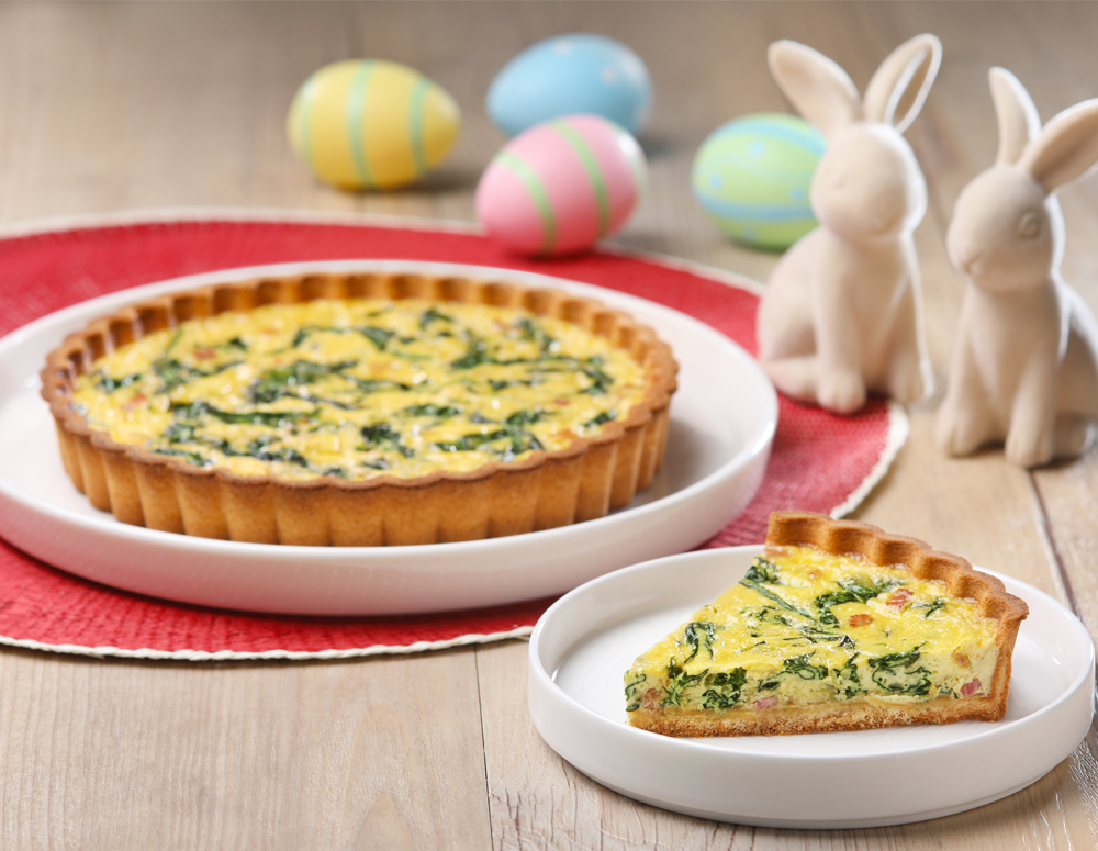Spinach and Bacon Quiche with Oyster Sauce
