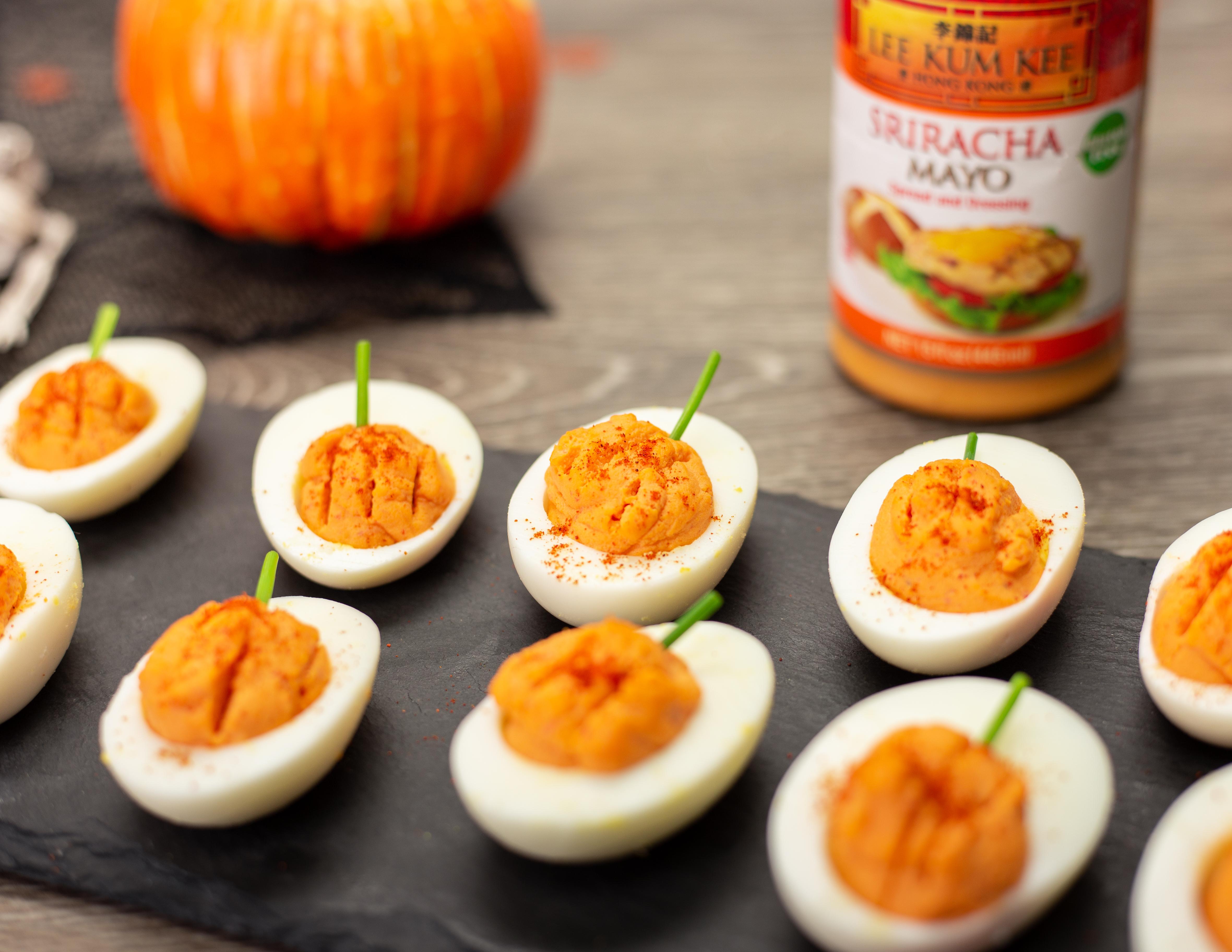 Recipe Sriracha Mayo Deviled Eggs