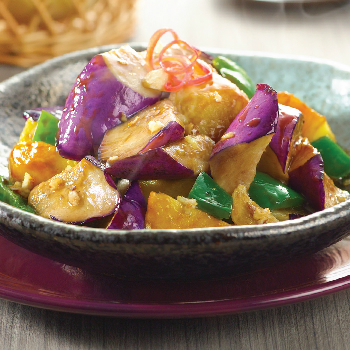 Recipe Stir Fried Eggplant, Potato and Green Bell Pepper CN