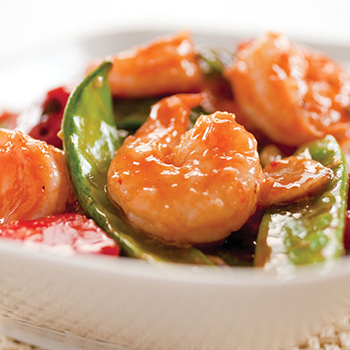 Recipe Stir-Fried Shrimp with Snow Peas and Red Bell Pepper