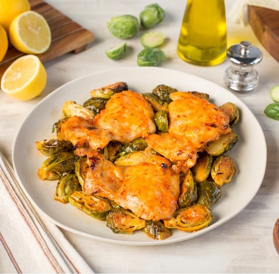 Recipe Sweet and Spicy Baked Chicken Thighs with Brussels Sprouts S