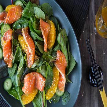 Salmon Sashimi Soy and Orange Salad 350x350