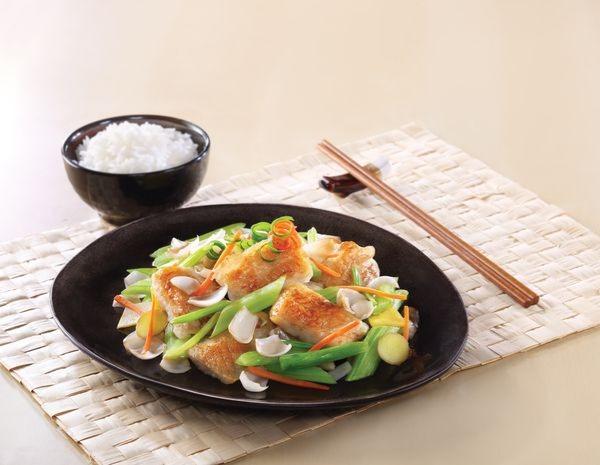 西芹百合煎魚柳