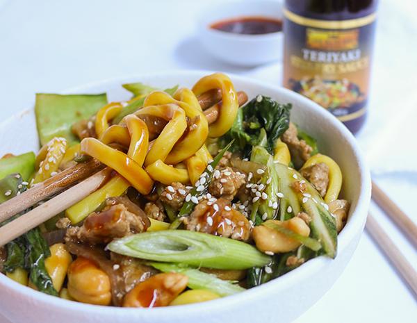 Teriyaki Pork  Cashew Noodles