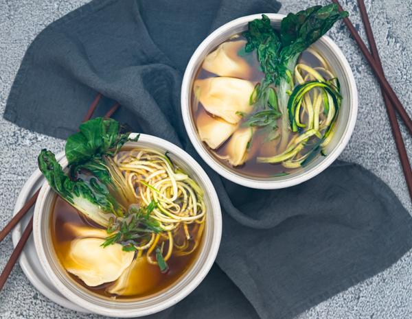 Vegetarian Dumpling And Zucchini Noodle Soup