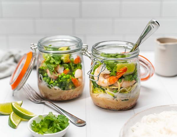 Web Res Gluten Free Prawn Pho Mason Jars with forks Landscape