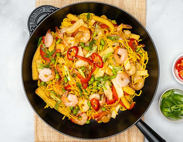 Web Res Prawn Stir Fry with Egg Noodles Topdown Landscape