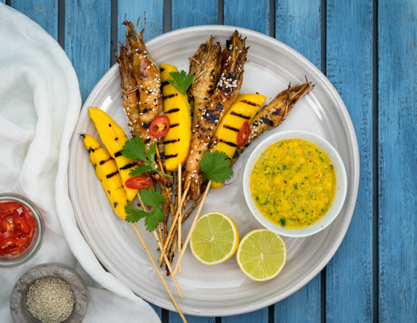 Web Res Teriyaki Ginger Prawns With Mango Dipping Sauce
