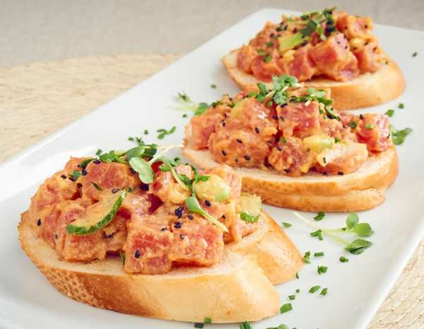 recipe spicy mayo poke bruschetta
